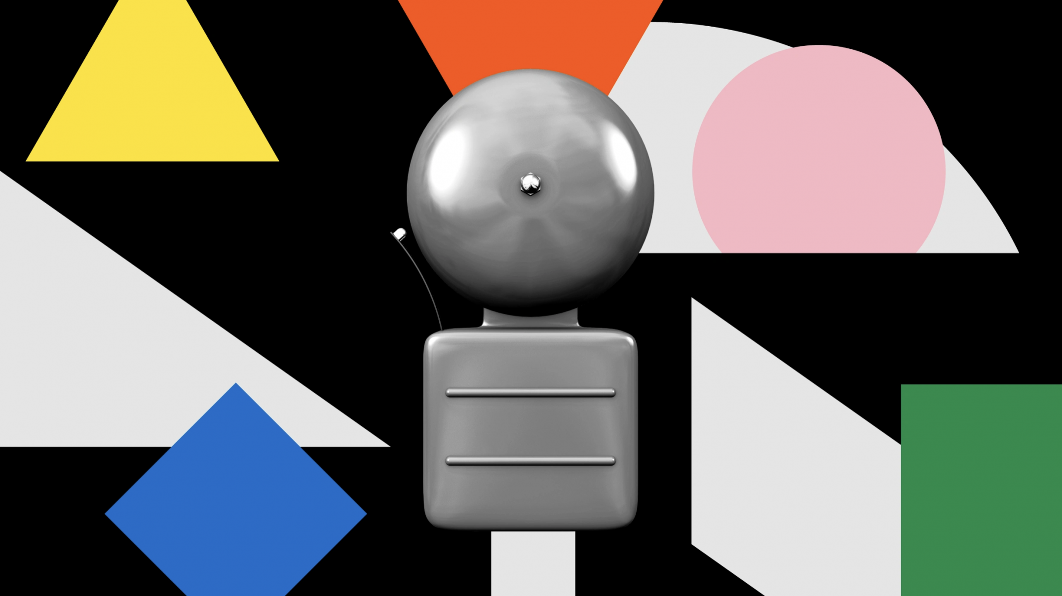 gray 3D alarm bell in the center of a collage of black, white and brightly colored shapes
