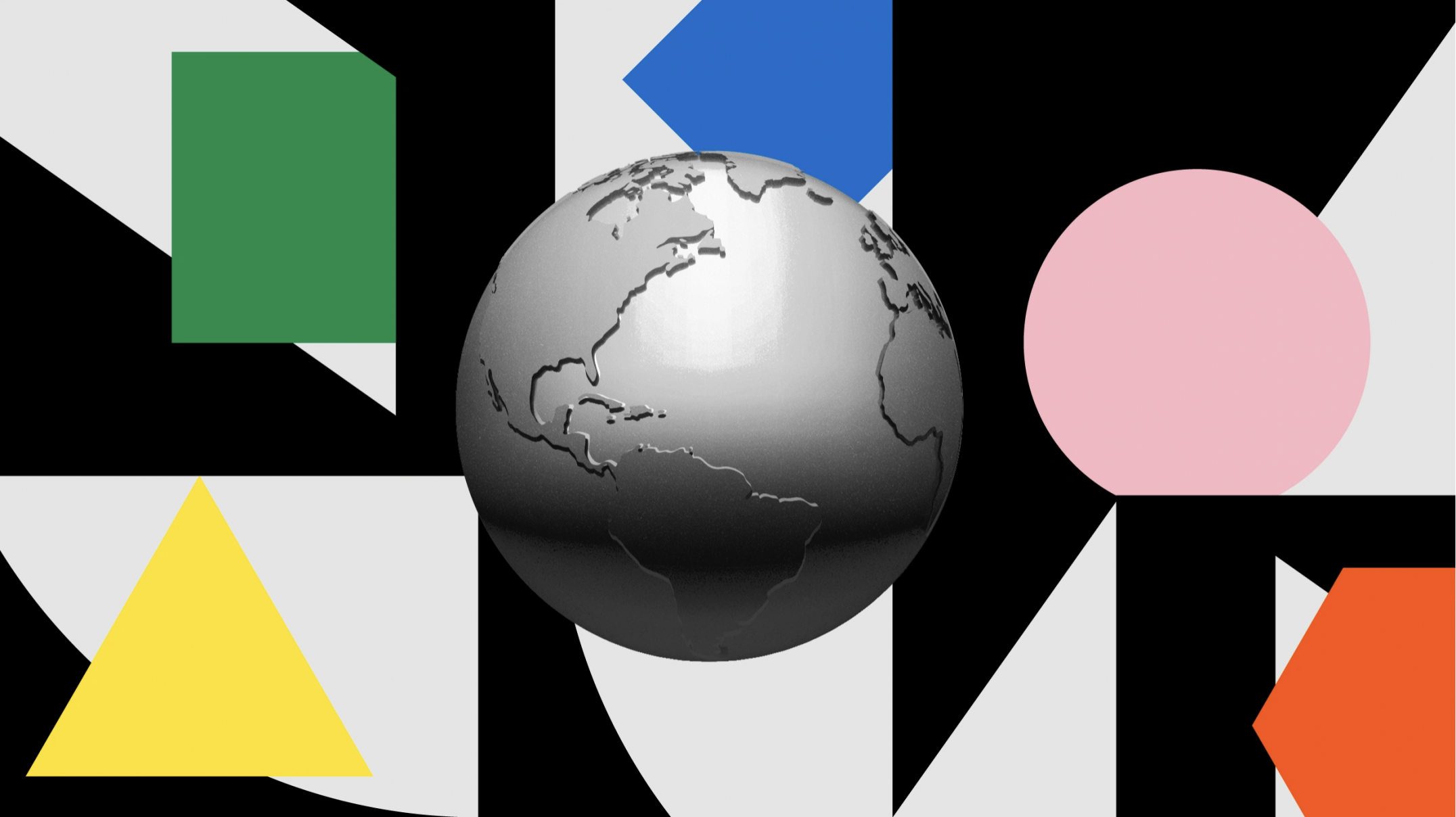 gray 3D globe of Earth in the center of a collage of black, white and brightly colored shapes